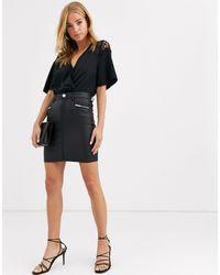 Lipsy Coated Button Detail Mini Skirt - Black