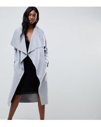 Missguided Waterfall Coat - Gray