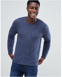 ASOS Heavyweight Fisherman Rib Sweater - Blue