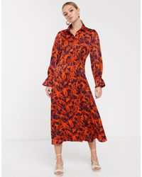 Glamorous Midi Shirt Dress With Contrast Floral-orange