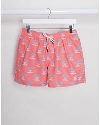 TOPMAN Micro Swim Shorts With Print - Pink