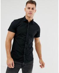 Jack & Jones Overhemd Van Stretchkatoen Met Korte Mouwen - Zwart