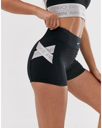 Nike Nike Pro Training 3 Inch Shorts With Taping Detailing In Black