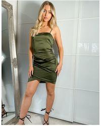 Naanaa Crossover Satin Bodycon Dress - Green