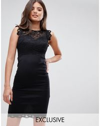 Lipsy Черное Облегающее Платье С Кружевной Отделкой -черный