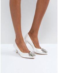 ASOS - Soya Bridal Embellished Kitten Heels - Lyst