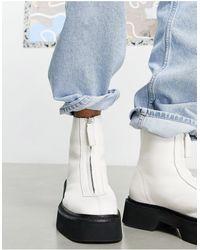 ASOS Ботинки Челси Из Белой Кожи С Молнией Спереди На Массивной Подошве - Белый
