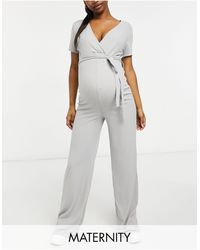 Missguided Wide Leg Jumpsuit With Wrap Detail - Grey