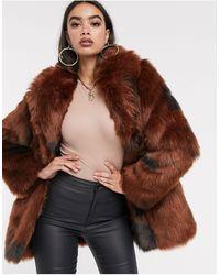 ASOS Cow Print Faux Fur Coat - Brown