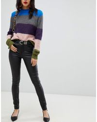 Pieces - Coated Mid Rise Skinny Jean - Lyst