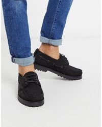 River Island Leather Chunky Boat Shoes - Black