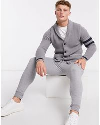Only & Sons Cardigan grigio con collo sciallato