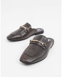 ASOS Backless Mule Loafer With Square Toe - Brown