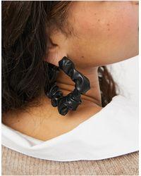 Monki Черные Серьги-кольца Из Искусственной Кожи Boo-черный Цвет