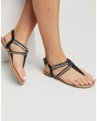 Call It Spring Treanna T-bar Embellished Sandals - Black