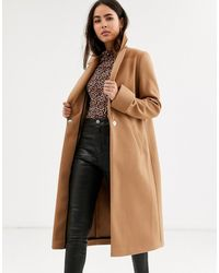 River Island Single Button Coat In Camel - Brown