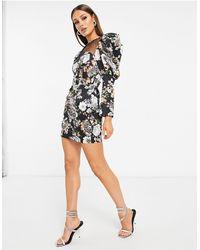 Lavish Alice Mesh Insert Puff Sleeve Mini Dress - Black