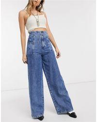 Free People Midnight City High Waist Wide Leg Jeans - Blue