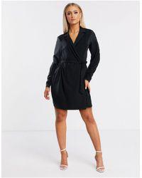 Flounce London Mini Tux Wrap Dress - Black
