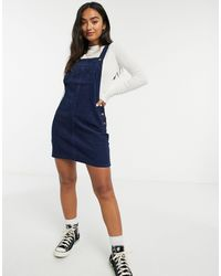 Brave Soul Alexa Cord Dungaree Pinafore Dress - Blue