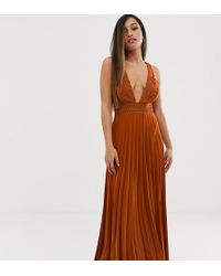 411e0bb01de9 ASOS - Asos Design Petite Sleeveless Maxi Dress With Lace Bodice And Pleated  Skirt - Lyst