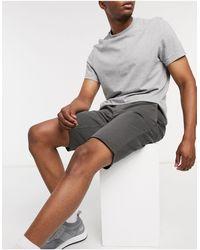 BOSS by Hugo Boss Schino - Dubbelgeverfde Slim-fit Shorts Met Stretch - Grijs