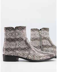 TOPMAN Leather Boots - Grey