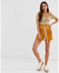ASOS Textured Short With Rope Belt - Yellow