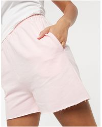 ASOS Lounge Co-ord Cropped Raw Edge Trackie Shorts - Pink