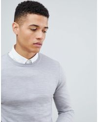 ASOS DESIGN - Muscle Fit Merino Wool Jumper In Pale Grey - Lyst