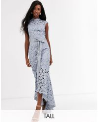 Chi Chi London Wrap Tie Lace Maxi Dress - Gray