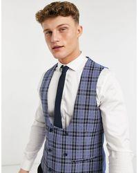 Original Penguin Checked Slim Fit Waistcoat - Blue