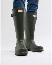 HUNTER Original Tall Wellies In Green - Black
