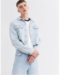 ASOS Co-ord Cropped Denim Jacket - Blue
