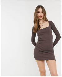 Pull&Bear Коричневое Платье В Рубчик С Квадратным Вырезом -коричневый Цвет
