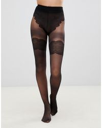 Pretty Polly - Flirty Back Seam Tights In Black - Lyst