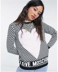 Love Moschino Розовый Джемпер С Принтом В Виде Сердца И Шахматным Узором -розовый Цвет