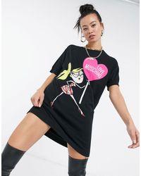 Love Moschino Vestito maglia nero con stampa con bambolina