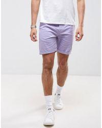 ASOS - Slim Chino Shorts In Lilac - Lyst
