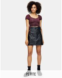Topshop Unique Faux-leather Biker Skirt - Black