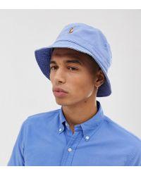 Polo Ralph Lauren Exclusive To Asos Multi Player Logo Bucket Hat In Light Blue