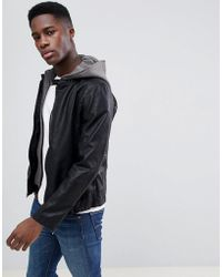 Esprit Faux Leather Jacket With Removable Jersey Hood - Black