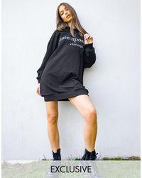 Reclaimed (vintage) Inspired Hoodie Dress With Slogan Print - Black