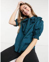 New Look Темно-зеленая Блуза Из Поплина С Присборенным Воротником -зеленый