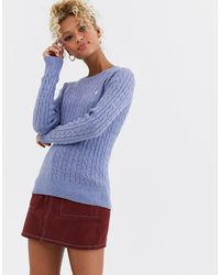 Jack Wills Tinsbury Cable Knit Wool Jumper - Blue