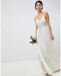 ASOS - Vestito da sposa decorato con spalline sottili - Lyst