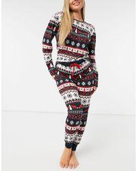 Chelsea Peers Christmas Fairisle Long Pajama Set - Multicolor