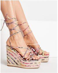 ASOS Thalia Strappy Tie Leg Wedges - Multicolour