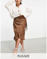 AX Paris Ruffle Wrap Skirt - Brown