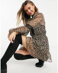 TOPSHOP Lace Trim Mini Dress - Multicolor